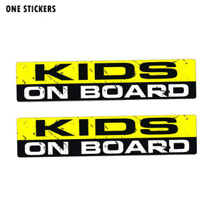 19CM*4.1CM Warning KIDS ON BOARD Personality Body Car Sticker PVC Decal 12-0054