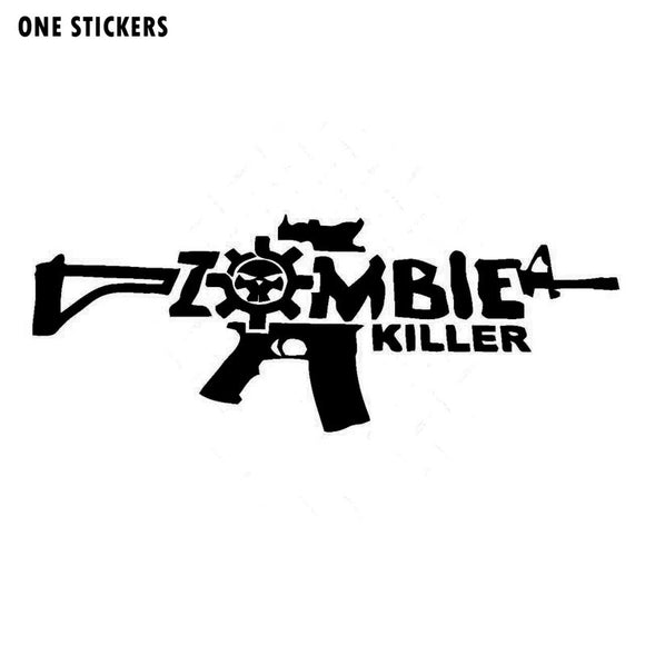 16CMX6CM Cartoon Funny ZOMBIE Killer Gun Black/Silver/Red Vinyl Decal  Motorcycle Car Sticker S8-1189