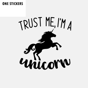 14CM*14CM Fashion Trust Me I'm A Unicorn Vinyl Car Sticker Decal Black Silver C11-1555