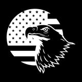 15.2CM*14.3CM Animal Eagle Flag Fashion Vinyl Car-styling Car Sticker Decal Black/Silver Decoration C15-0920