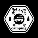 14.5CM*13CM Interesting Let's Go Camping Car Window Sticker Decal Black Silver Vinyl C11-1835