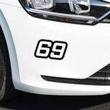 15.2CM*8.8CM personalized Number 69 Vinyl Car-styling Car Sticker Graphical Decal Black/Silver C11-0885