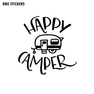 16CM*15.8CM Cartoon Happy Camper Vinyl Car Window Sticker Decal Black/Silver Waterproof C11-1321