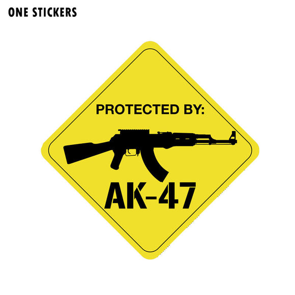 13.9CM*13.9CM Protected By AK47 Gun PVC Decal Car Sticker 12-0786