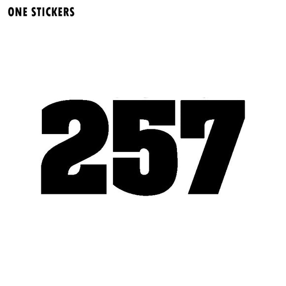 15.3CM*7.2CM Personality Number 257 Vinyl Car Sticker Motorcycle Decal Graphical Black/Silver C11-0753