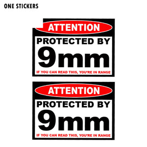 11CM*7.8CM ATTENTION Protected By 9mm Reflective Car Sticker PVC Decal 12-0507