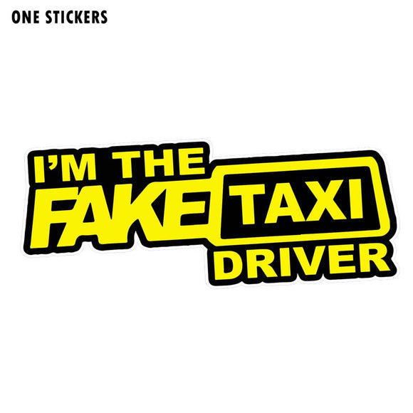 16.3CM*6.3CM Car I'M THE FAKE TAXI DRIVER Stickers Decal PVC 12-0361