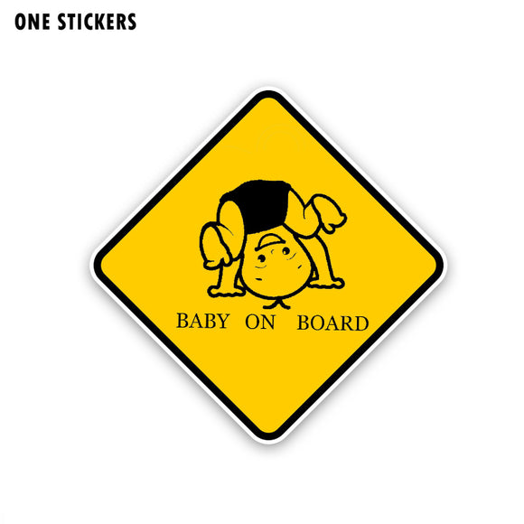 15.6CM*15.6CM BABY ON BOARD Warning Car Sticker Somersault Children PVC Decal 12-40380