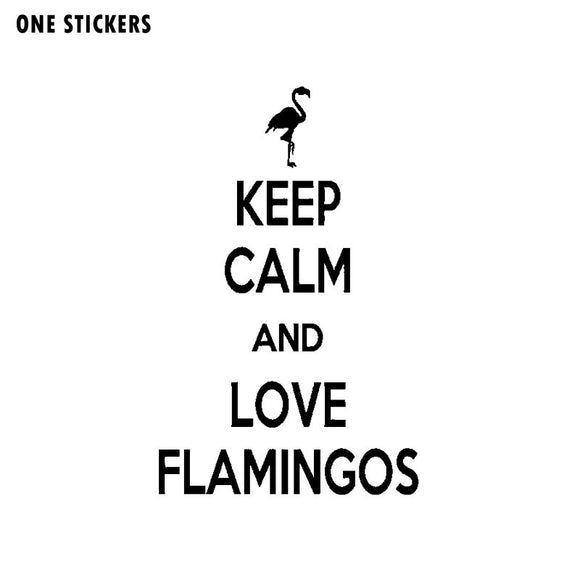 11.3CM*18CM Fashion Keep Calm And Love Flamingos Vinyl Art Decor Decal Car Sticker Black Silver C15-0998