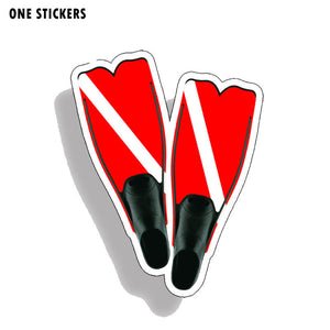 10.8CM*14CM Personality Scuba Dive Fins Stickers Reflective Car Decal PVC 12-0528
