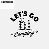 15.1CM*13.8CM Interesting Let's Go Camping Vinyl Car Window Sticker Decal Black Silver C11-1836
