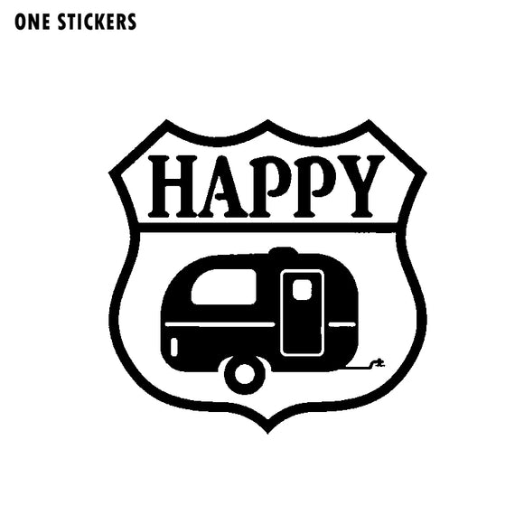 13.9CM*13.7CM Cartoon Happy Camper Vinyl Decal Waterproof Graphical Car Sticker Car Styling C11-1323