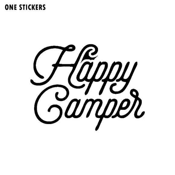 14.8CM*11.2CM Personality Happy Camper Word Art Decal Black Silver Motorcycle Car Sticker Vinyl C11-1339