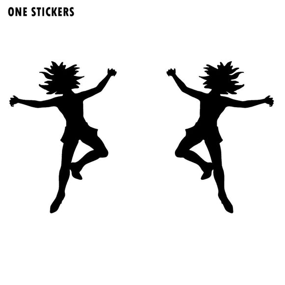 6CMX8.5CM Funny FEMALE ZOMBIE 1 LEFT 1 RIGHT Vinyl Car-styling Decal Car Sticker Black/Silver S8-1195