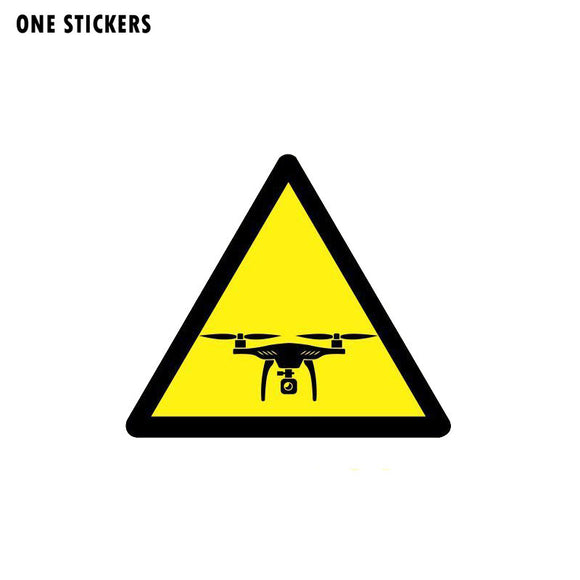 11CM*9.6CM Warning Car Sticker Caution Drones Reflective PVC Decal 12-1076