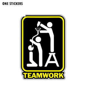 10.1CM*14.5CM Personality Car Sticker PVC Drinking Beer Teamwork Reflective Decal 12-1344