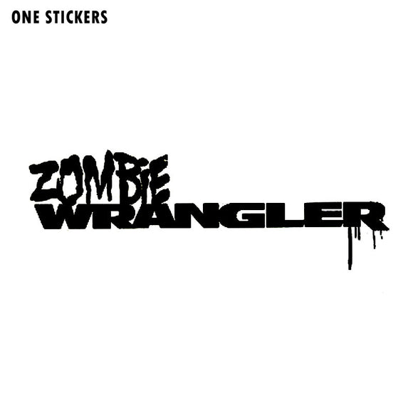 13.5CMX4.5CM Funny ZOMBIE Wrangler Vinyl Decal Motorcycle Car Sticker Black/Silver S8-1191