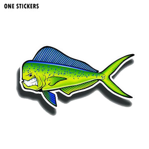 15CM*8CM Creative Angry Mahi Fish Reflective Car Sticker Decal PVC 12-0650
