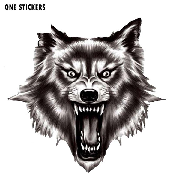 13.5CM*13.2CM A Ferocious Wolf Quality PVC Car Sticker Decal 12-300523