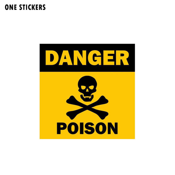 12.8CM*12.8CM Skull Funny Car Sticker Poison Danger Decal PVC 12-0755