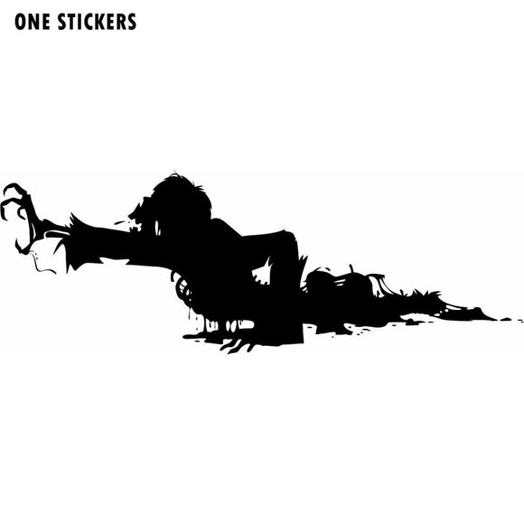17CMX6.3CM Personality Crawling ZOMBIE Black/Silver Vinyl Car Window Stickers Decals S8-1175