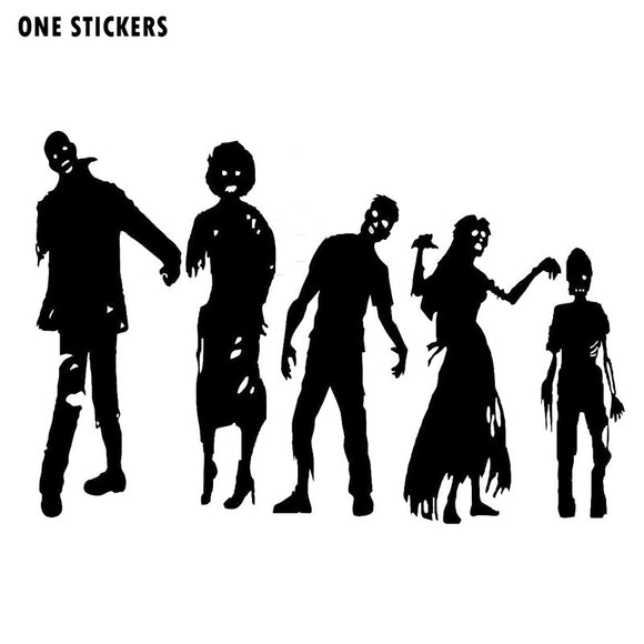 19.5x13CM Interesting ZOMBIE FAMILY Walking Dead Decal Car Window Sticker Black/Silver Vinyl Car-styling S8-1221