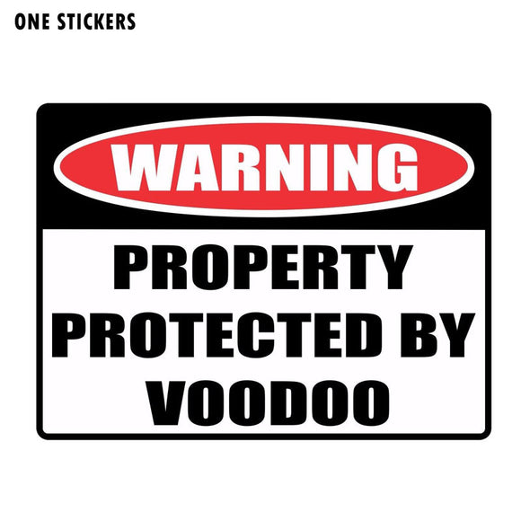19.2CM*14.3CM Personality WARNING PROPERTY PROTECTED BY VOODOO Creative Decal PVC Car Sticker 12-0142