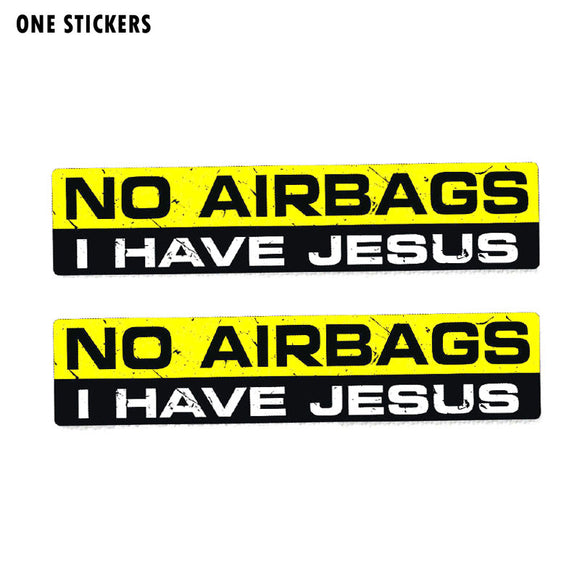 15CM*3CM PVC Funny NO AIRBAGS I HAVE JESUS Interesting Car Sticker Decal 12-0033