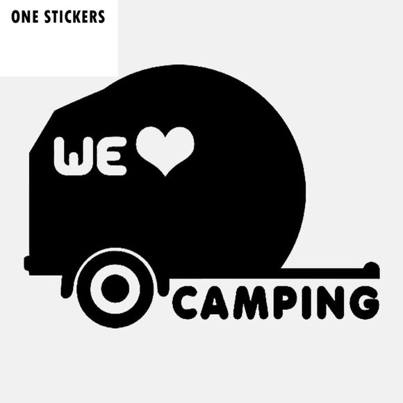 14.2CM*10.3CM Fashion We Love Camping Vinyl Decal Car Sticker Black Silver C11-2039
