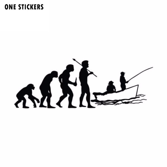 15.2cm*5.5cm Funny Car Styling Evolved Fishing Car Stickers Black Silver S2-0010