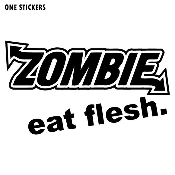 13.5CMX7.7CM ZOMBIE Eat Flesh Vinyl Car-styling Motorcycle Fashion Decals Car Stickers Black/Silver S8-1179
