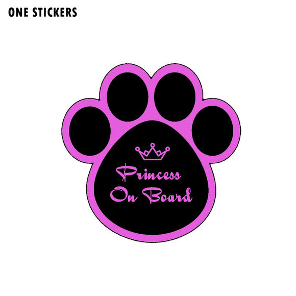 13.9CM*13.8CM Princess On Board Crown Car Sticker Funny Dog Print PVC Decal 12-40456