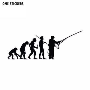 15.2CM*6.1CM Personalized Fashion Fishing Evolution Funny Vinyl Car Stickers S2-0002