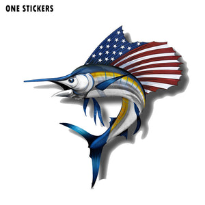 15.4CM*15.7CM Creative USA America Marlin Fish Car Sticker Decal PVC 12-0647