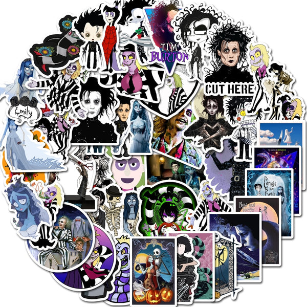 Tim Burton Waterproof Sticker Pack (50pcs)