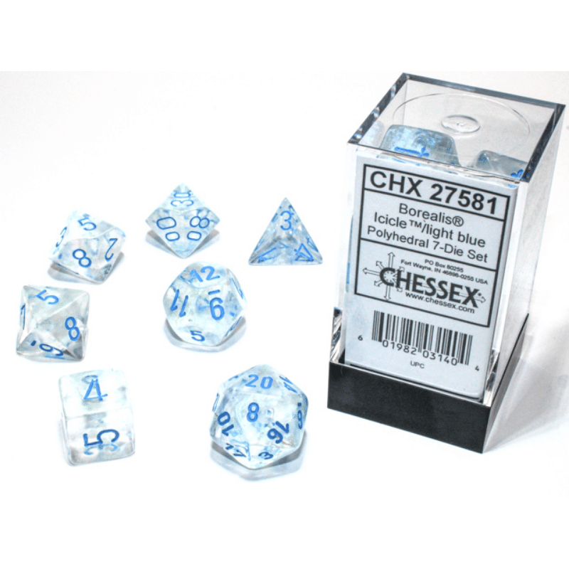 Borealis Icicle & Light Blue Luminary Polyhedral 7-Die Set