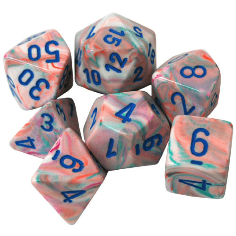 Chessex: 7 Polyhedral Dice Set - Festive Pop-Art