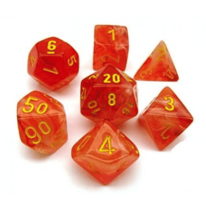 Chessex: Ghostly Glow 7 Polyhedral Dice Set - Orange with Yellow