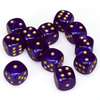 Chessex: Borealis D6 16mm Dice Set - Royal Purple with Gold