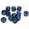 Chessex: Lustrous D6 16mm Dice Set - Dark Blue with Green