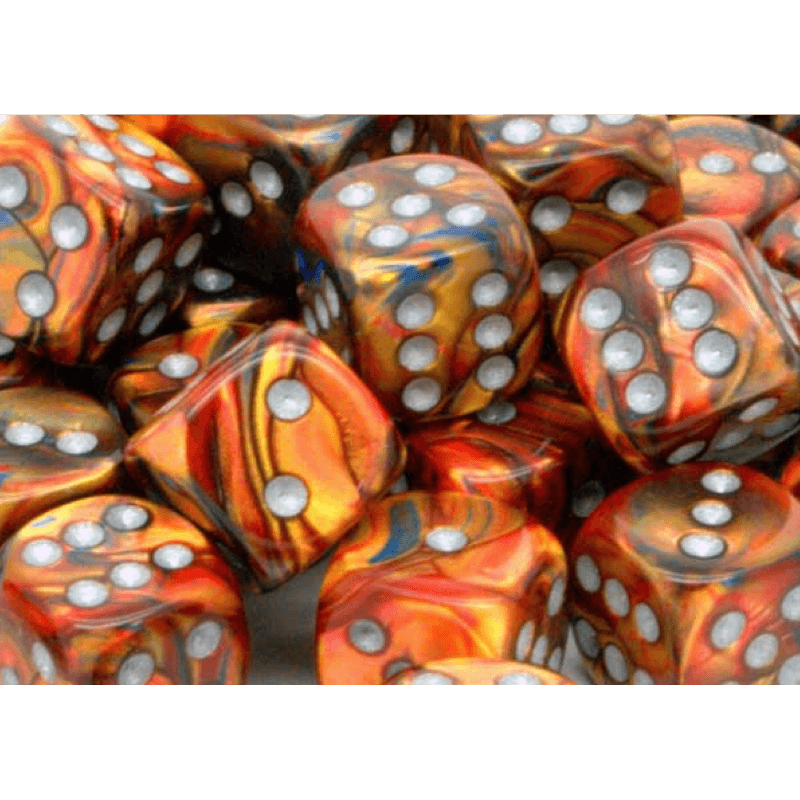 Chessex: Lustrous D6 16mm Dice Set - Gold with Silver