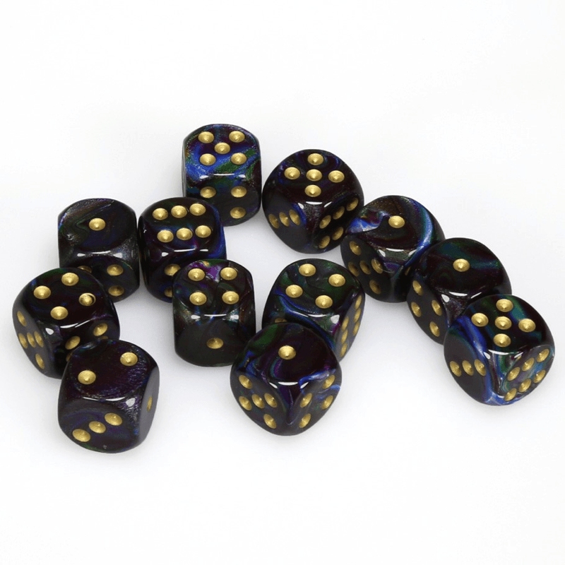 Chessex: Lustrous D6 16mm Dice Set - Shadow with Gold