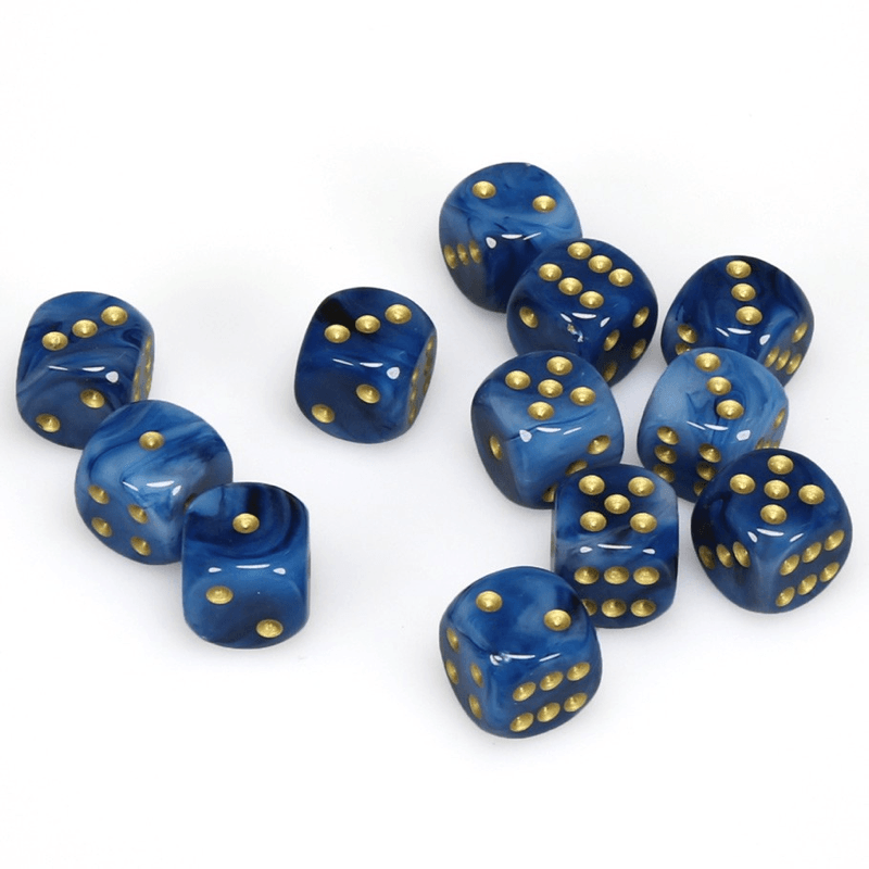 Chessex: Phantom D6 16mm Dice Set - Teal with Gold