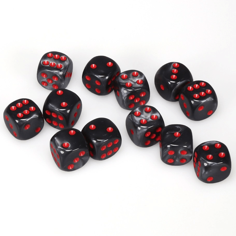 Chessex: Velvet D6 16mm Dice Set - Black with Red