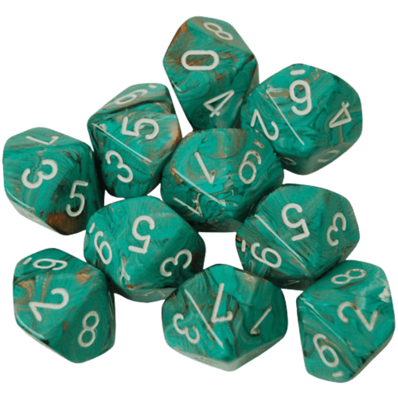 Chessex D10 Dice Set - Marble Oxi-Copper/White (10)