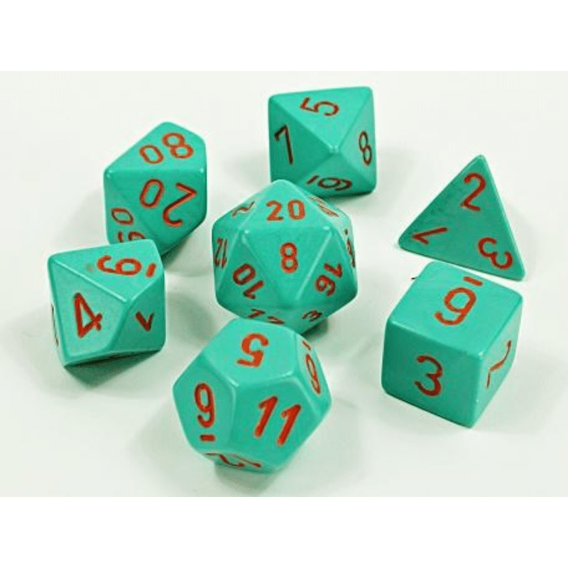 Chessex: Heavy Dice Turquoise/Orange 7-Die Set Lab Dice