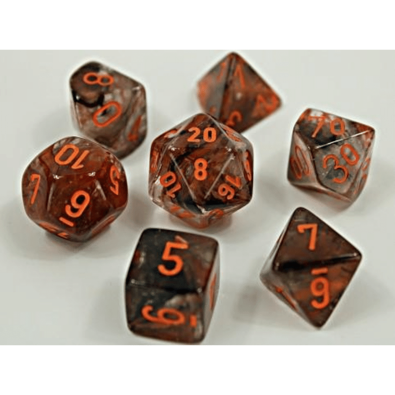 Chessex: Nebula Copper Matrix/Orange Luminary 7-Die Set Lab Dice