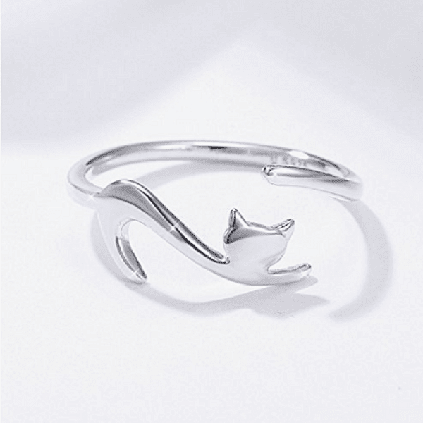 Bague ajustable en argent sterling 925 -Chat- - Wolf Yuhna