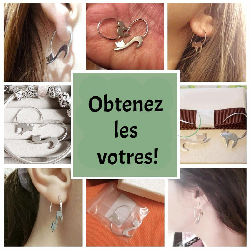 Boucles d'oreilles -chats- argent sterling 925 - Wolf Yuhna