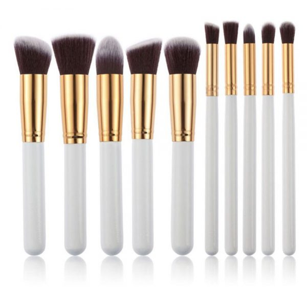 10 pc White-Gold Makeup Brush Set